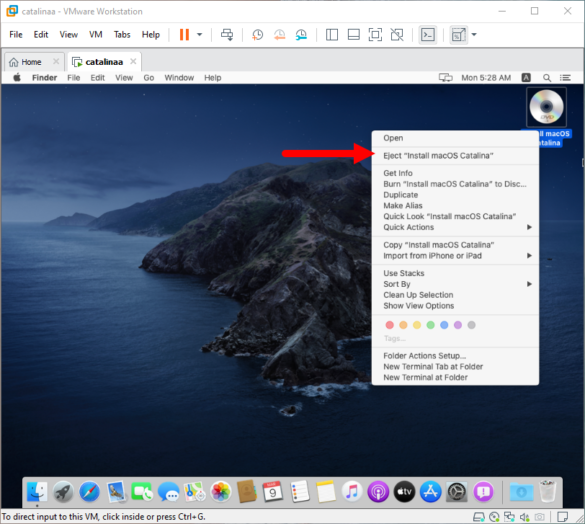 Eject macOS Catalina ISO Image