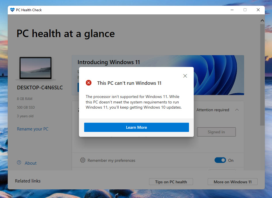 Check if your PC can support Windows 11 or no
